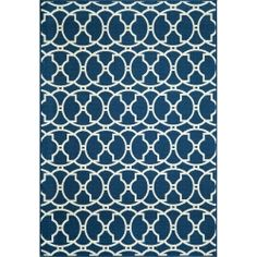 Baja Navy Circles Outdoor Rug