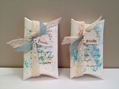 I like the combo of lace and seam binding Stampin up pillow box wedding favor
