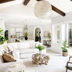 My Living Room, Home And Living, Living Room Decor, White Couch Living Room, Open Kitchen And Living Room, Cream And White Living Room, White Couches, Room Decor Bedroom, Piece A Vivre