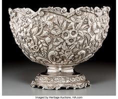 An S Kirk Son Silver Repouss Punch Bowl Baltimore Maryland c Lot 74132 Baltimore Maryland, Punch Bowls, American Indian Art, Wood Sculpture, Silver Stars, Antique Silver, Decorative Bowls, Glass Art, Sterling Silver