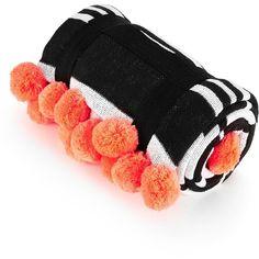 Seafolly Fringe Benefits Pom Pom Blanket- Black/White ($44) ❤ liked on Polyvore featuring home, bed & bath, bedding, blankets, orange striped bedding, striped blanket, pom fringe bedding, pom pom blanket and pom pom bedding