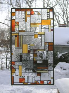 Stained Glass Window Panel - Clear , Amber & Red