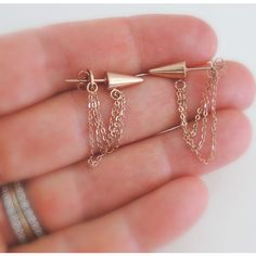 Rose Gold Earrings (37 CAD) ❤ liked on Polyvore featuring jewelry, earrings, cone earrings, statement earrings, pink gold earrings, long stud earrings and geometric jewelry