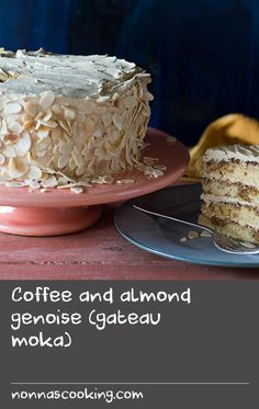 Coffee and almond genoise (gateau moka) | Based on a coffee syrup-soaked genoise sponge (thought to have originated in Italy) and layered with coffee buttercream, this French classic is the perfect cake for a celebration.
