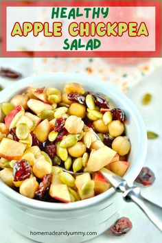 This easy chickpea and apple salad is perfect for fall. Great for lunch, brunch and more. #applesalad #chickpearecipes #vegan #glutenfree #plantbased Apple Salad Recipes, Healthy Salad Recipes, Vegan Recipes, Cooking Recipes, Chickpea Recipes, Thanksgiving Recipes, Fall Recipes, Summer Recipes, Easy Salads