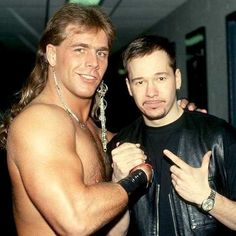 Shawn Michaels and Donnie Wahlberg. I thought Shawn was a born again Christian? Wwe Shawn Michaels, The Heartbreak Kid, Mick Foley, Eddie Guerrero, Andre The Giant, Sheamus, Donnie Wahlberg, Ric Flair, Lucha Libre