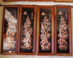 Tranh tứ quý đồng đỏ khung gỗ cao cấp có kích thước 1m2 x 40cm được gò thủ công từ tấm đồng liền dày 0,6 ly treo trang trí phòng khách gia đình đẹp
