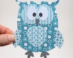 Paper Owl Printable - Turquoise Layered Papercraft Embellishment