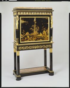 Creator:   Bernard Molitor (1755-1833) (cabinet maker)  Creation Date:   late eighteenth century  Materials:   Oak, mahogany, ebony, lacquer, gilt bronze, marble  RCIN   2443  Acquirer:   George IV, King of the United Kingdom (1762-1830)