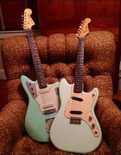 A recent Squier Vintage Modified Jaguar and a vintage 1961 Fender DuoSonic