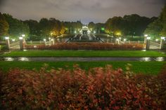 Vigeland Park at night, in the rain :) Frognerparken, Oslo, Norway Landscape Pictures, Oslo, Runes, Norway, Golf Courses, Dolores Park, Sculptures, Rain, Seasons