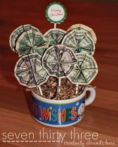 Money Bouquet. When I make this... I'm going to add candy on sticks and make it a cash/candy birthday bouquet.