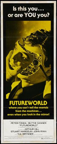 Futureworld (1976) Upon uncovering the dirty secret of futuristic theme-park Futureworld, a reporter is killed after he tips-off 2 other reporters who decide to do an undercover investigation. http://www.imdb.com/title/tt0074559