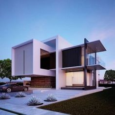 Modern architecture house design with minimalist style and luxury exterior and interior and using the perfect lighting style is inspiration for villas mansions penthouses Modern Architecture House, Modern Buildings, Modern House Design, Modern Interior Design, Architecture Design, Luxury Interior, Modernisme, Villa Design, Facade House