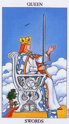 Queen of Swords as the Final Card in a Tarot reading As all court cards, Queen of swords denotes both a person, a personality and a situation. Queen of swords as the final card in a tarot reading d… Rider Waite Tarot Cards, Tarot Significado, Tarot Card Meanings, Tarot Card Decks, Tarot Readers, Illustrations, Oracle Cards, Card Reading, Klimt