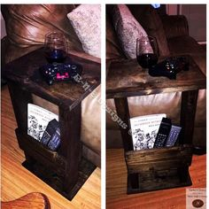 Handmade, solid wood, side char table, with spot to put you remote controls, magazines, etc.