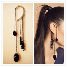 CHIC BLACK BEADS FRINGE EAR CUFF DANGLE EARRINGS CHAINS GOTHIC PUNK on eBay!