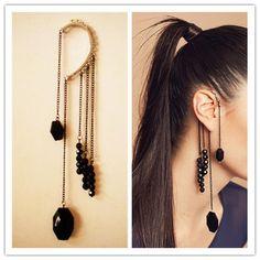 CHIC BLACK BEADS FRINGE EAR CUFF DANGLE EARRINGS CHAINS GOTHIC PUNK on eBay!