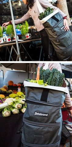 Grocery backpack with compartments to divide items <3