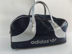 a25d850667 70 s Adidas Sports Bag Travel Bag Navy Blue Silver by VanOrange Vintage  Adidas