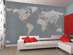 Contemporary Grey World Map Wallpaper Mural Wallpaper Mural / Cool Couch, Color Pop Orange instead of red, Make Map Blue Tones --In Basement with uplights behind Curtain to mimic sunlight ~ J