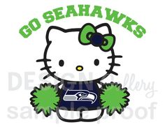 Seattle Seahawks Hello Kitty Cheerleader Go by designgallery, $3.00