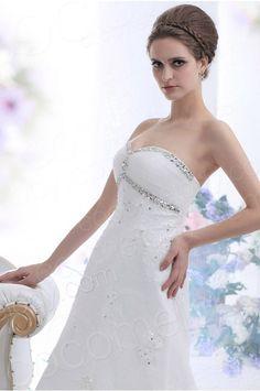 A Line Sweetheart Chapel Train Organza Wedding Dress CWLT13080 #weddingdress #cocomelody