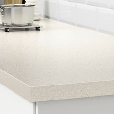 SÄLJAN Countertop, white stone effect, laminate, Spills and grease are easy to wipe clean and the countertop retains its beauty over time. Laminate Countertops, Kitchen Countertops, Kitchen Worktop, Kitchen Appliances, Wet Rooms, Cool Plants, White Stone, Kitchen Styling