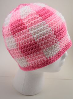 Adult Crochet Pink Plaid Beanie by MichaelRoseCreations on Etsy