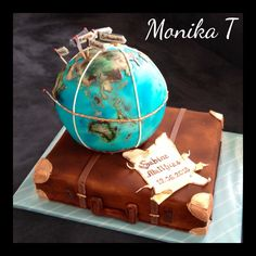 World globe - globe with suitcase - Torten - Cake Design Travel Cake, Travel Party, Baby Travel, Fondant Cakes, Cupcake Cakes, Cupcakes, Beautiful Cakes, Amazing Cakes, Homeade Desserts