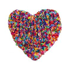 Multi Colored Hearts | Multi coloured Rug - Thick heart-shaped rag rug | eBay