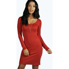 Boohoo Basics Lucie Long Sleeve Scoop Neck Bodycon Dress ($14) ❤ liked on Polyvore featuring dresses, burnt orange, burnt orange dress, long sleeve dress, bodycon tube dress, red body con dress and long sleeve body con dress