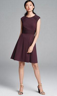 Eliza J Pintucked Waist Seamed Ponte Knit Fit & Flare Dress | Corporette