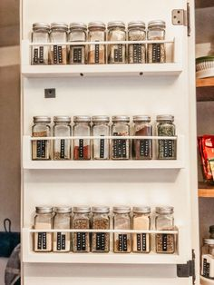 DIY Spice Shelves Hey there! It's no secret that I have a small kitchen, right! So, when a friend asked me how I stored my spices, it got me thinking… not very well! She said she wanted something to hang on the back of her cabinet door to maximize space, Hanging Spice Rack, Diy Spice Rack, Spice Shelf, Spice Storage, Spice Organization, Spice Jars, Ikea Spice Rack Hack, Bathroom Organization, Organizing