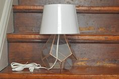Companion Lamp - stained glass lamp - teardrop lamp - silver or copper finish - eco friendly. $240.00, via Etsy.