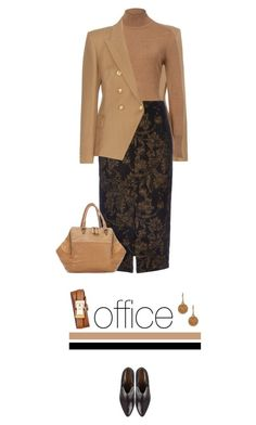 Office outfit: Camel - Black by downtownblues on Polyvore featuring polyvore fashion style Balmain Wallis Tory Burch Lucky Brand Liebeskind women's clothing women's fashion women female woman misses juniors