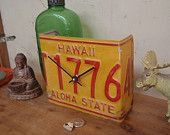 Hawaii License Plate Desk Clock - Recycled and Repurposed  - Aloha