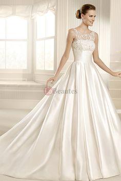 2013 Wedding Dresses A Line Scoop Chapel Train Satin USD 319.00 PY81QMT7