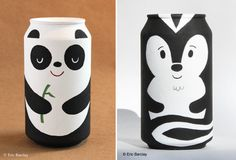 Most people toss their bottles and cans in the recycling bin, but artist Eric Barclay turns them into adorable painted packaging sculptures! Diy Bottle, Bottle Art, Bottle Crafts, Soda Can Crafts, Diy And Crafts, Arts And Crafts, Diy For Kids, Crafts For Kids, Aluminum Cans