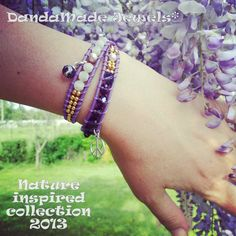 Handmade wrap bracelet, various gemstones on leather, tailored on your size, many size & colours, by DandaMade -  Italy