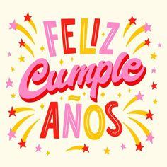 Birthday Words, 3rd Birthday, Birthday Wishes, Hbd Quotes, Happy Birthday In Spanish, Flat Design Illustration, Congratulations Graduate, Birthday Background, Handwritten Letters