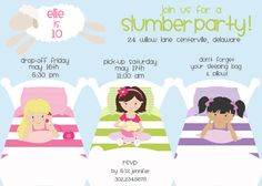 Slumber Party Invitation Striped Pillows & Beds Printable by Freshcitrus on Etsy https://www.etsy.com/listing/181895324/slumber-party-invitation-striped-pillows