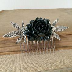 Stoner gift, marijuana hair accessories, silver black leaf maple wedding Marijuana rose cannabis ganja accessories accessory 420