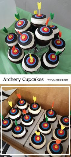 Archery Birthday Party - Inspiration Made Simple - Archery Birthday Party – Inspiration Made Simple Archery Cupcakes…would be great for a Disney's Brave party or even Robin Hood party! Nerf Birthday Party, Nerf Party, Boy Birthday Cupcakes, Boys Cupcakes, Funny Cupcakes, 10th Birthday, Birthday Ideas, Wilton Cake Decorating, Archery Party