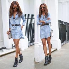 #outfit #inspiration #alexachung #AGjeans #denimdress