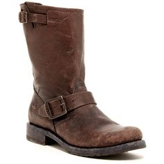 Frye Veronica Short Boot ($180) ❤ liked on Polyvore featuring shoes, boots, ankle booties, dark brown, dark brown leather boots, frye boots, pull on boots, bootie boots and leather ankle boots