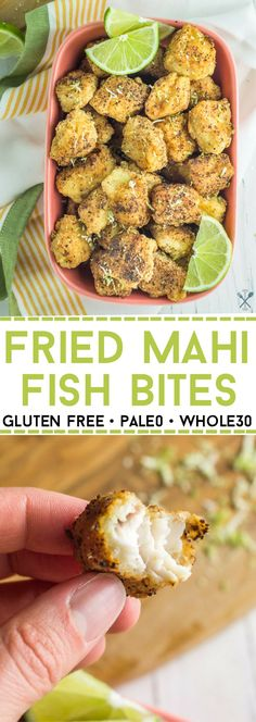 Mahi Fish Bites (paleo + These fried fish bites are grain free, paleo, and kids love them!These fried fish bites are grain free, paleo, and kids love them! Seafood Recipes, Paleo Recipes, Cooking Recipes, Cooking Fish, Whole30 Fish Recipes, Cooking Broccoli, Cooking Pasta, Parmesan Recipes, Cooking Gadgets