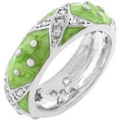 Marbled Apple Green Enamel Ring, size : 10