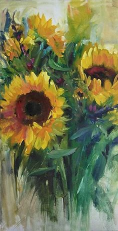 "Sunflower Splash by Mary Maxam Acrylic ~ 20"" x 10"""