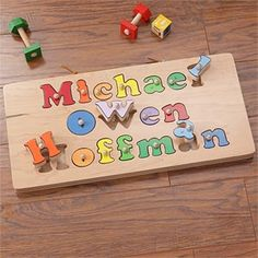 Name puzzle stool stools personalized puzzles and shapes kids personalized name puzzle board 3 names negle Images
